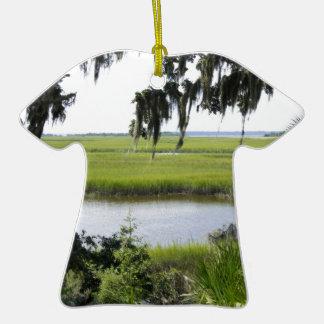 Georgia Marshland Double-Sided T-Shirt Ceramic Christmas Ornament