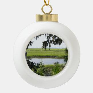 Georgia Marshland Ceramic Ball Christmas Ornament