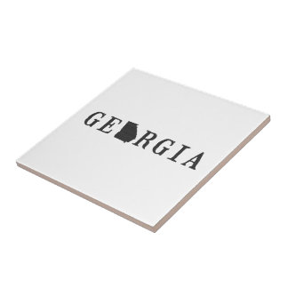 Georgia Name with State Shaped Letter Ceramic Tile