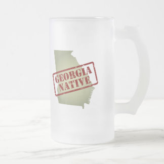 Georgia Native Stamped on Map Frosted Glass Beer Mug