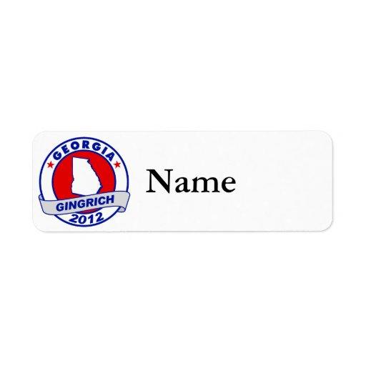 Georgia Newt Gingrich Return Address Label
