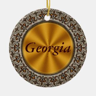 Georgia Double-Sided Ceramic Round Christmas Ornament