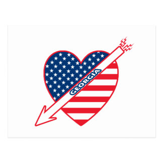 Georgia Patriot Flag Heart Postcard