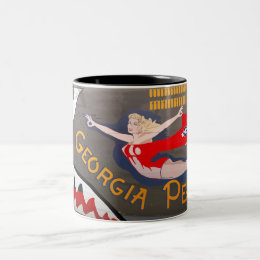 Georgia Peach B-24 Nose Art (Vintage Fuselage) Two-Tone Coffee Mug
