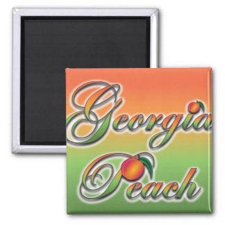 Georgia Peach - Cursive 2 Inch Square Magnet