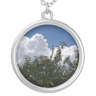 Georgia Peach Tree Fluffy White Clouds Round Pendant Necklace