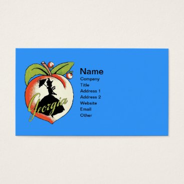Professional Business Georgia Peach With Black Silhouette Southern Lady Business Card