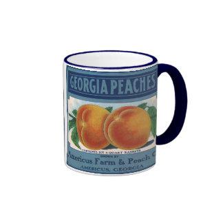 Georgia Peaches, Vintage Fruit Crate Label Art Mugs