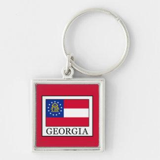 Georgia Silver-Colored Square Keychain