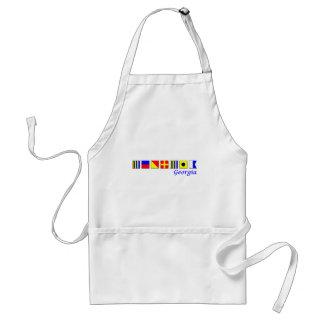 Georgia spelled in nautical flag alphabet adult apron