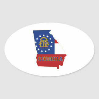Georgia State Flag and Map Oval Sticker