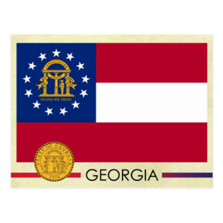 Georgia State Flag and Seal Postcard