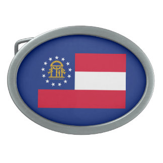 Georgia State Flag Design Oval Belt Buckle