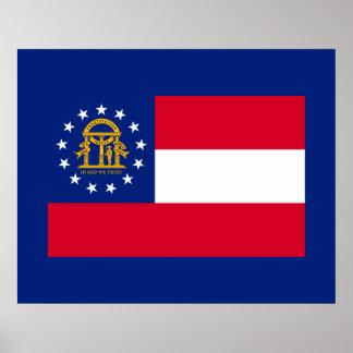 Georgia State Flag Design Poster