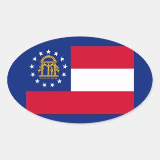 Georgia State Flag Design Oval Sticker