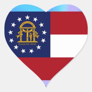 Georgia State Flag Heart Sticker
