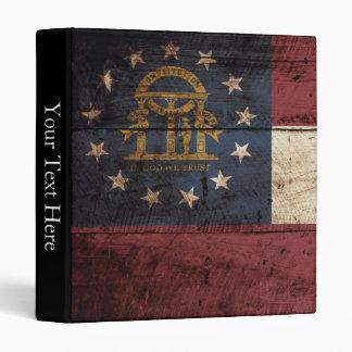 Georgia State Flag on Old Wood Grain Vinyl Binders