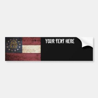 Georgia State Flag on Old Wood Grain Bumper Sticker