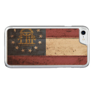 Georgia State Flag on Old Wood Grain Carved iPhone 7 Case