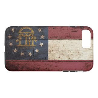Georgia State Flag on Old Wood Grain iPhone 7 Plus Case