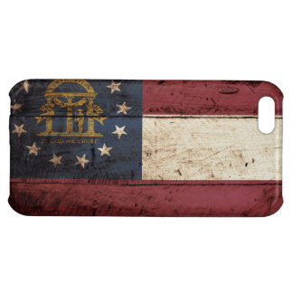 Georgia State Flag on Old Wood Grain Case For iPhone 5C