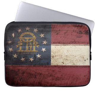 Georgia State Flag on Old Wood Grain Laptop Sleeves