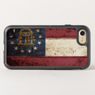 Georgia State Flag on Old Wood Grain OtterBox Symmetry iPhone 7 Case