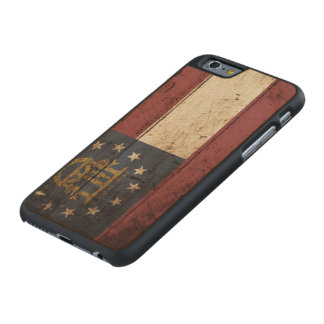 Georgia State Flag on Old Wood Grain Carved® Maple iPhone 6 Slim Case