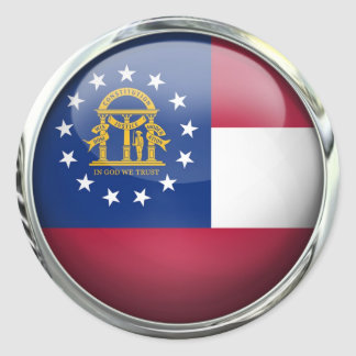 Georgia State Flag Round Glass Ball Classic Round Sticker