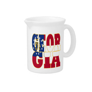 Georgia state flag text beverage pitchers