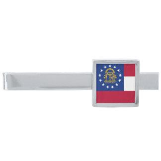 Georgia State Flag Silver Finish Tie Clip