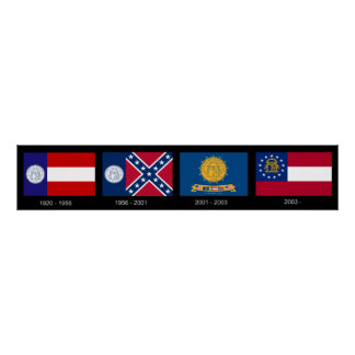 Georgia State Flags from 1920 to Present Day Posters