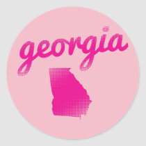Georgia state in pink classic round sticker