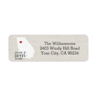 Georgia State Love Map Home Sweet Home Custom Label