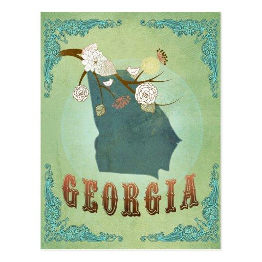 Georgia State Map – Green Postcard
