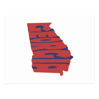 Georgia State Name Word Art Red Postcard