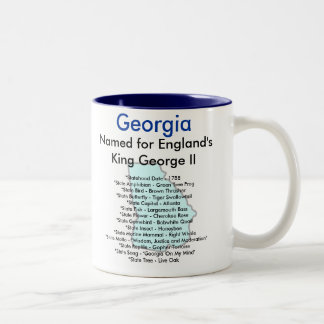 Georgia Symbols & Map Two-Tone Coffee Mug