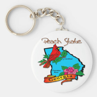 Georgia The Peach State Blue & Cardinal Keychain