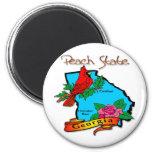 Georgia The Peach State Blue & Cardinal Refrigerator Magnet