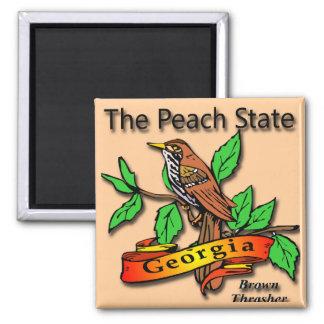 Georgia The Peach State Brown Thrasher Magnet