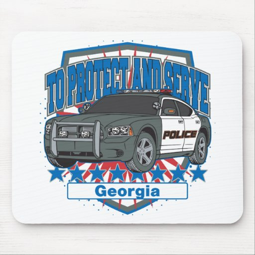 Georgia To Protect and Serve Police Car Mouse Pads