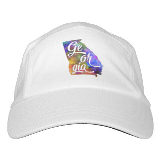 Georgia U.S. State in watercolor text cut out Headsweats Hat