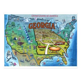 Georgia USA Map Post Card