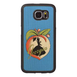 Georgia Vintage Peach Silhouette Southern Belle Wood Phone Case