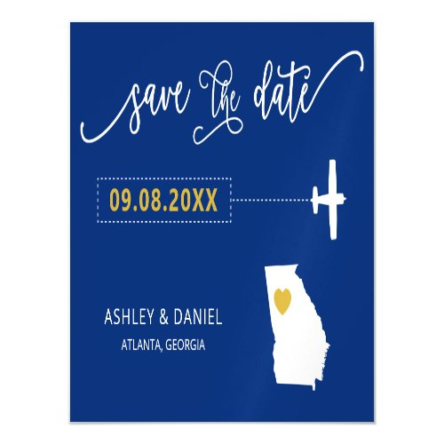 Georgia Wedding Save the Date Card Map Magnetic Invitation