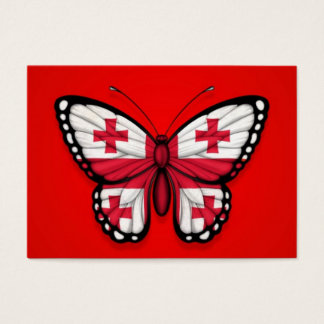 Georgian Butterfly Flag on Red Business Card