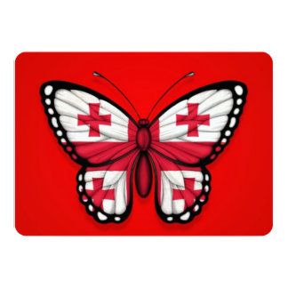 """Georgian Butterfly Flag on Red 5"""" X 7"""" Invitation Card"""