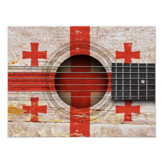 Georgian Flag on Old Acoustic Guitar Posters