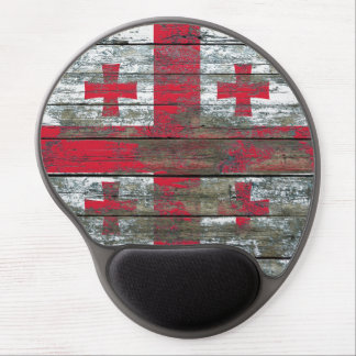 Georgian Flag on Rough Wood Boards Effect Gel Mouse Pad