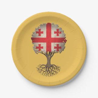 Georgian Flag Tree of Life Customizable 7 Inch Paper Plate